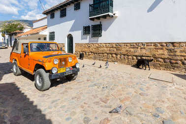Historic jeep called Willy in the historic center of Villa de Le