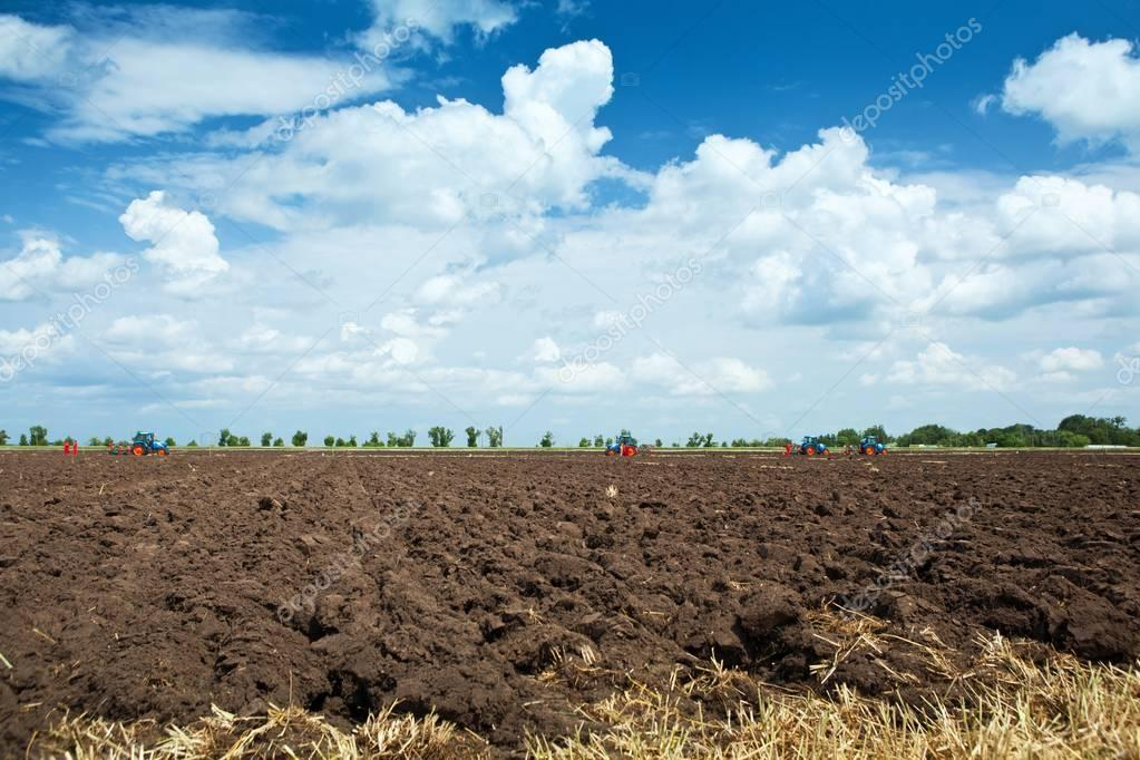 Tilled soil after plowing competitions at