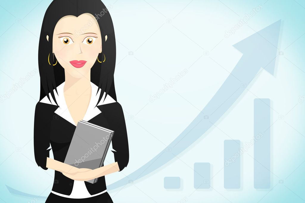 Business Woman Character Formally Dressed And Holding A Book