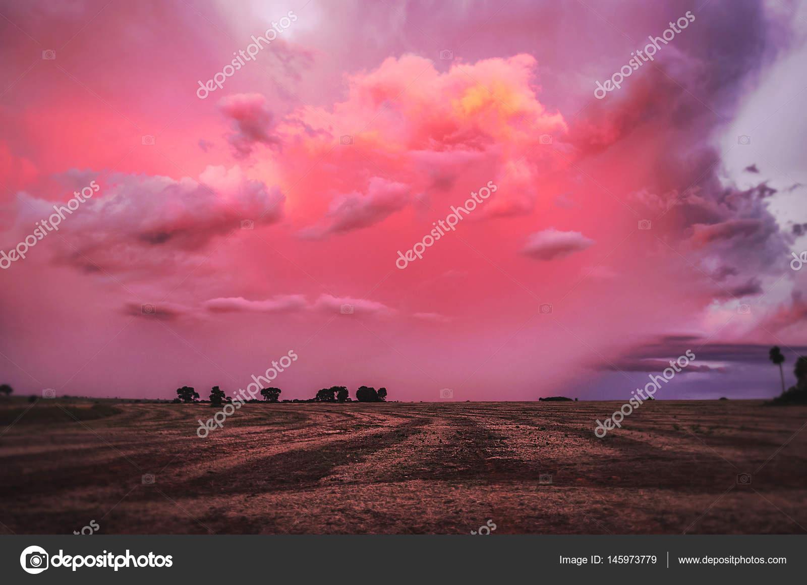 835307d71b69d Maravilhoso fim de tarde com um por do sol cor de rosa e roxo — Fotografia