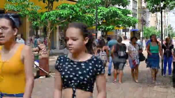 Londrina PR, Brazil - December 23, 2019: Timelapse video of the downtown of Londrina city. Video of people walking during shopping at the Calcadao.