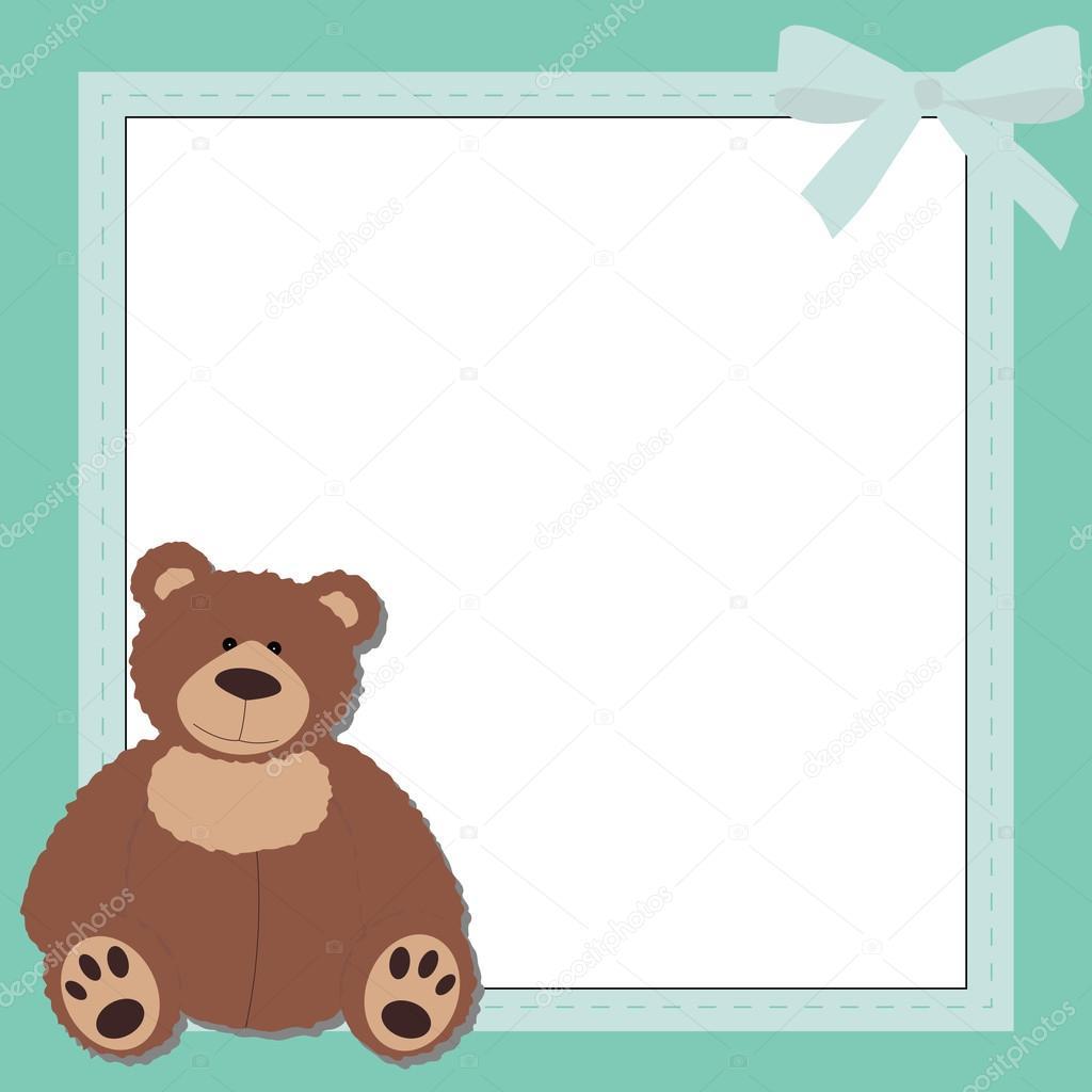 cute square blue frame with Teddy bear. — Stock Vector © dofa80 ...