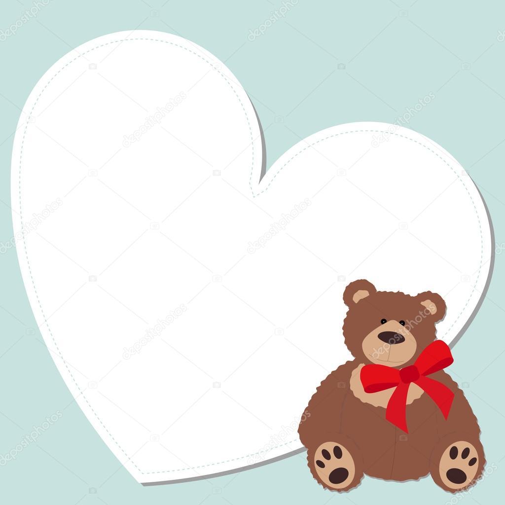 cute frame in the shape of a heart with a Teddy bear — Stock Vector ...