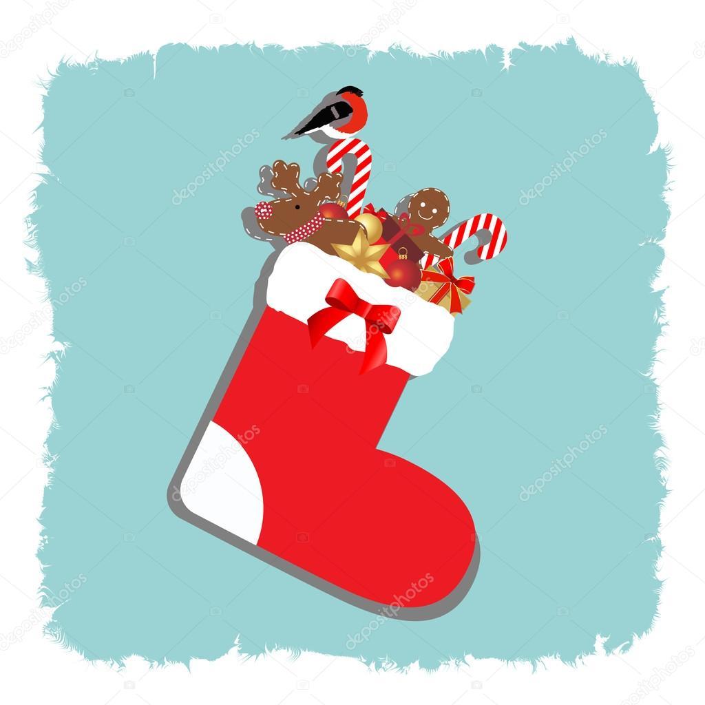 Weihnachtssocke mit Geschenken auf blauem frostigen Grund ...