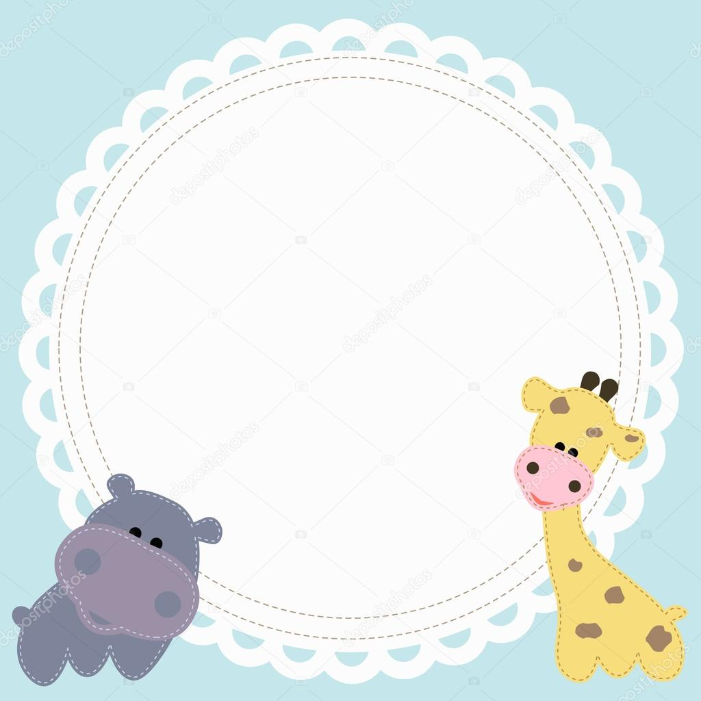 baby cute round frame with a Hippo and a giraffe — Stock Vector ...