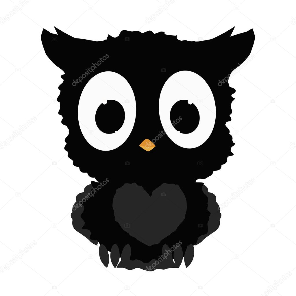 Black Icon Cute Owl Halloween On A White Background The Template For Decoration Of Store Or Insert Site Vector Illustration Vektor Von