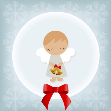 cute Christmas card with a boy angel. Template greetings.