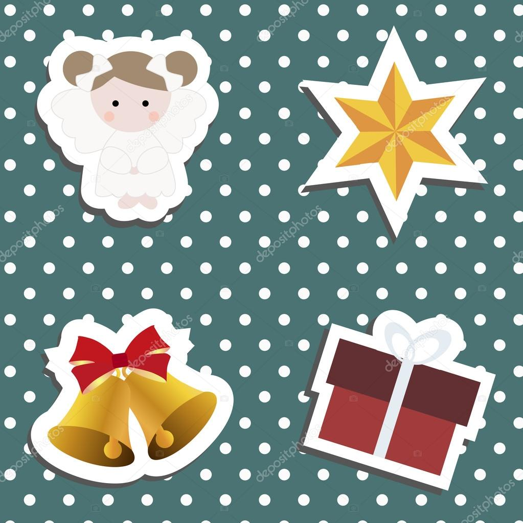 set a festive childrens christmas stickers new year collection of label templates and decals for decorating greeting or gift there is an angel girl