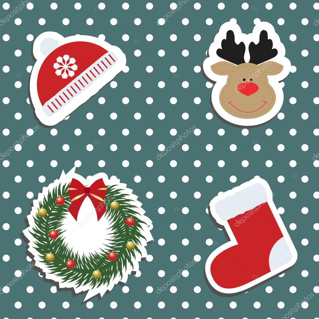 set a festive childrens christmas stickers new year collection of label templates and decals for decorating greeting or gift there is a winter hat