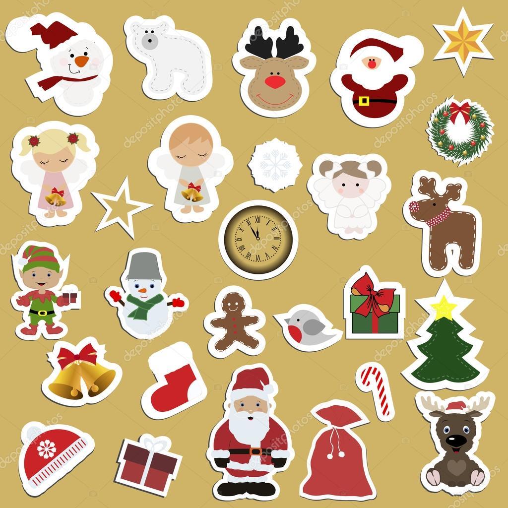 Gran conjunto de festiva para niños etiquetas engomadas de la ...