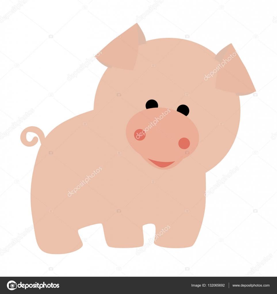 cerdo de icono color rosado lindo bebé en estilo de dibujos animados ...