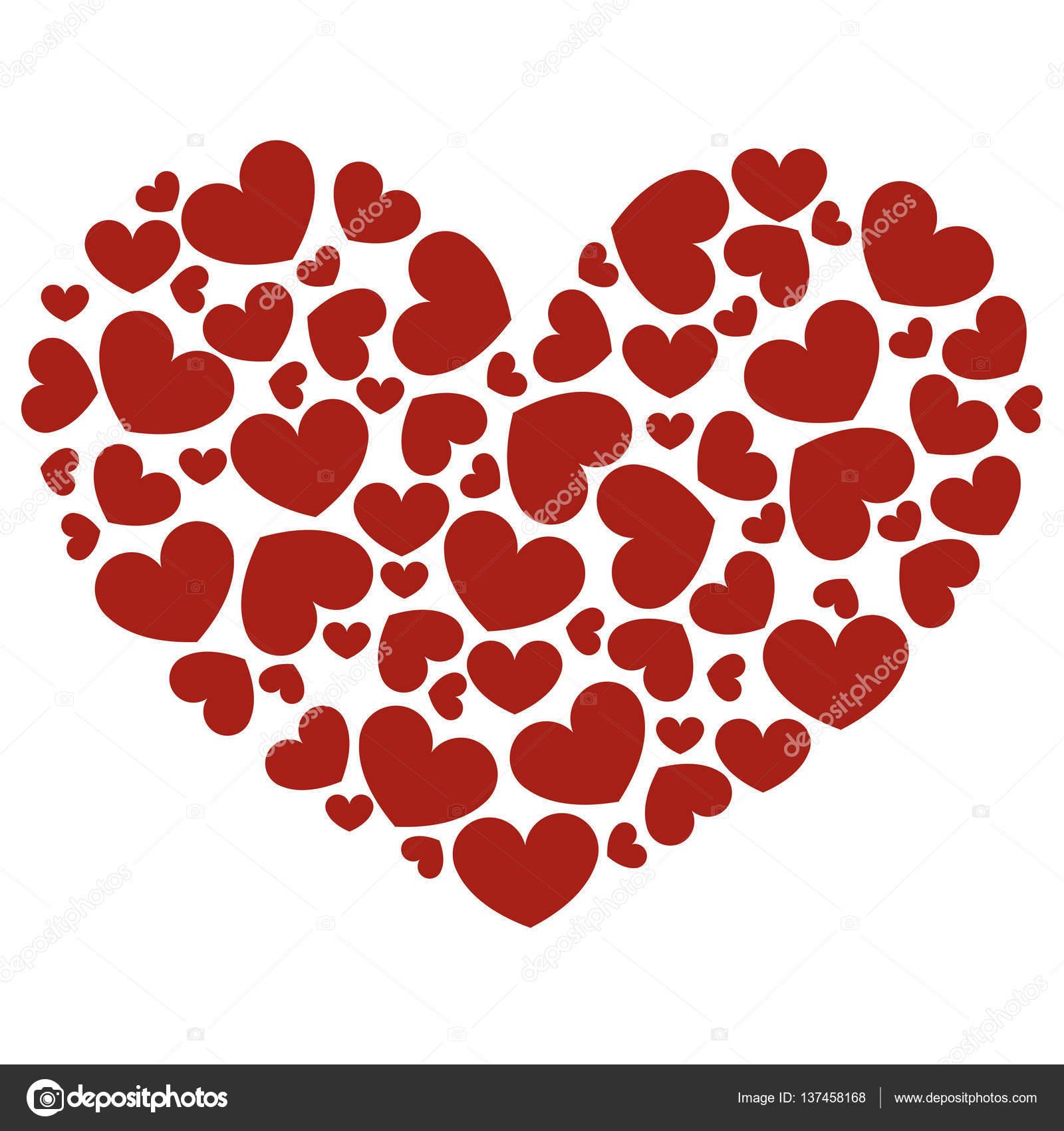 Icono De Corazón Hecho De Corazones Rojos Sobre Fondo Blanco Patrón
