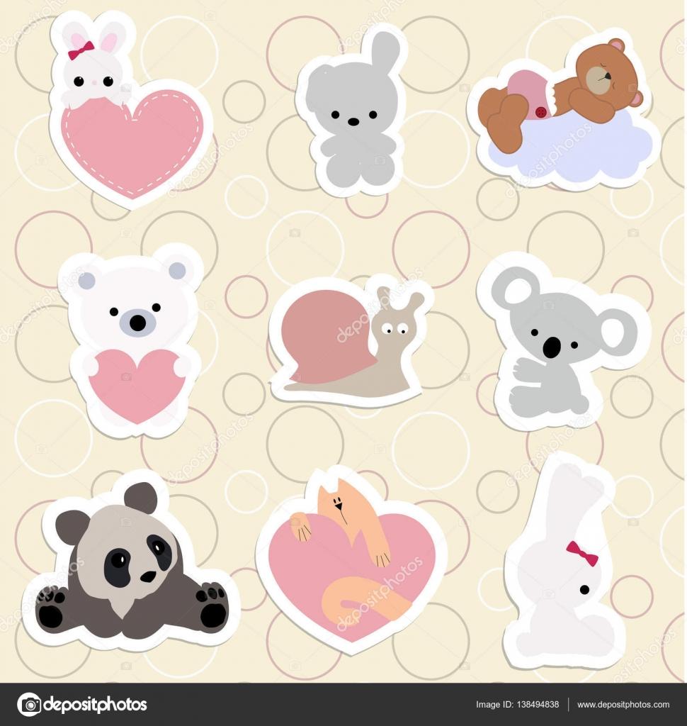 Set di adesivi per bambini simpatici animali in stile