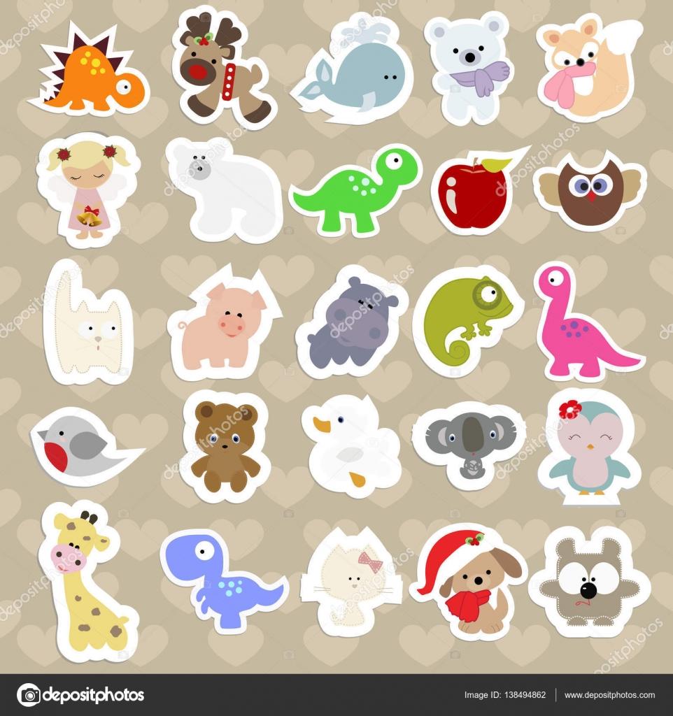 Conjunto de pegatinas infantiles de animales lindos estilo for Pegatinas infantiles