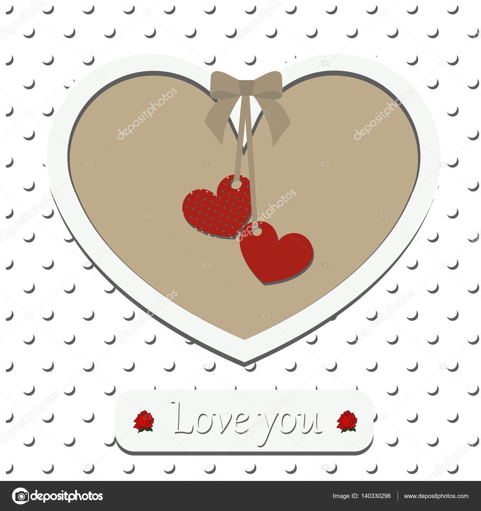 Grußkarte mit Aufschrift liebe dich. Rahmen in Form von Herzen ...