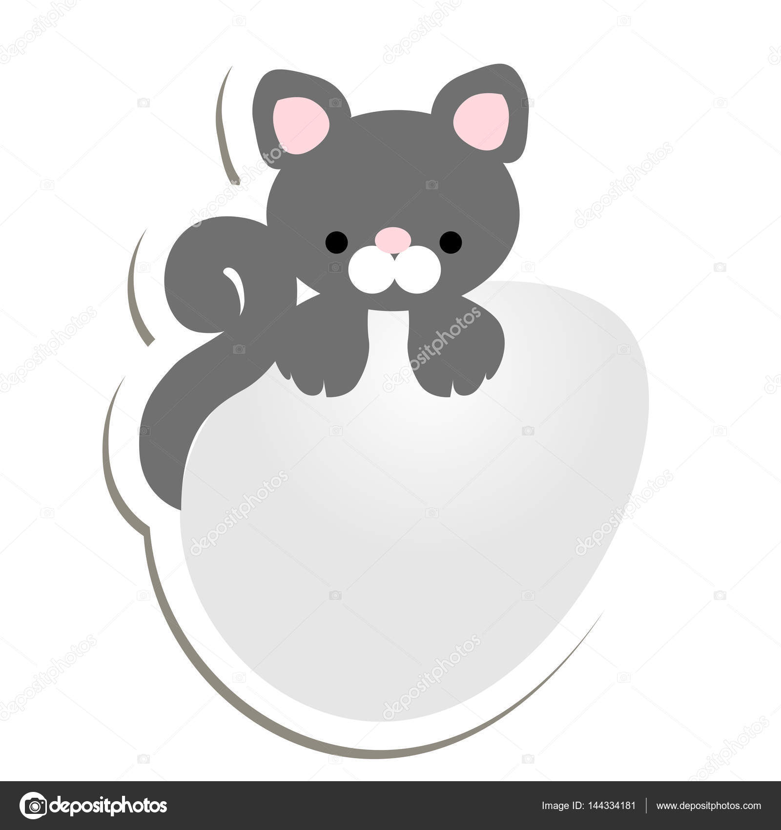 Ostern-Abzeichen Aufkleber Kätzchen auf dem Ei. Vektor-Illustration ...