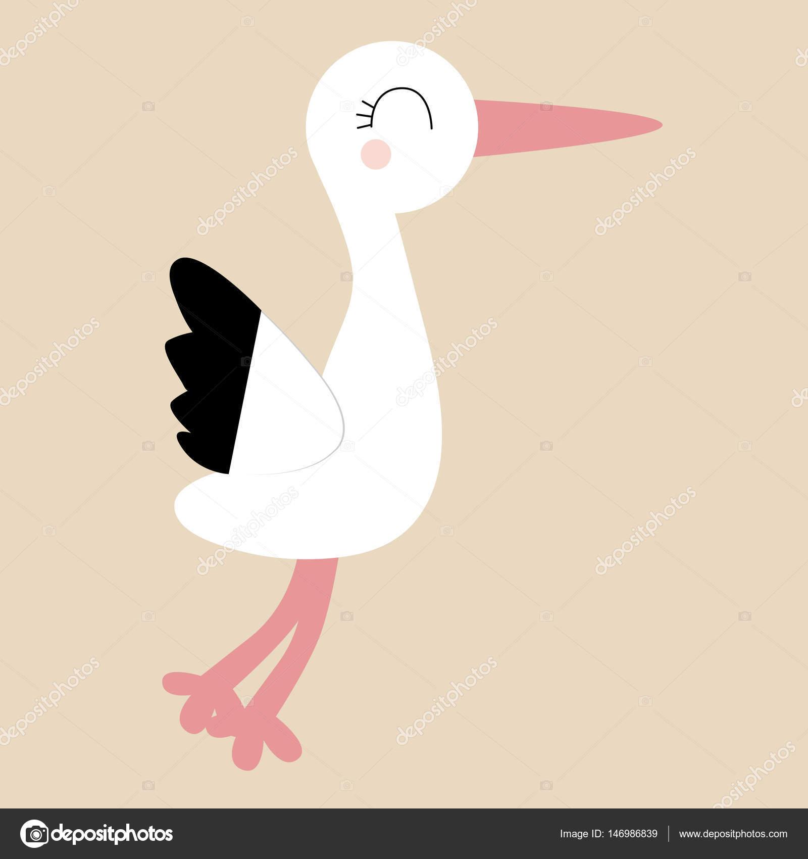 Colore icona bambino della cicogna in stile cartone animato