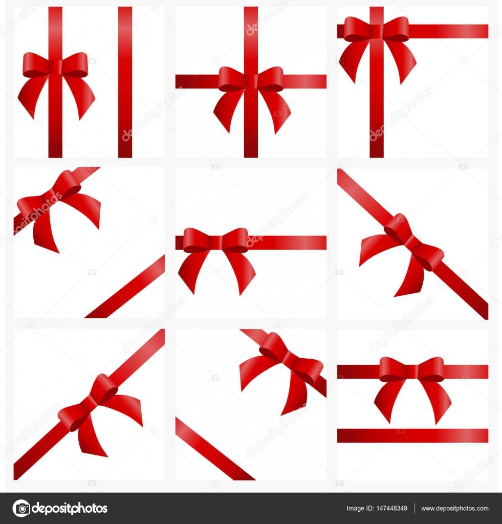 Stellen Sie Rote Schleifen Und Bögen Für Geschenk Dekoration