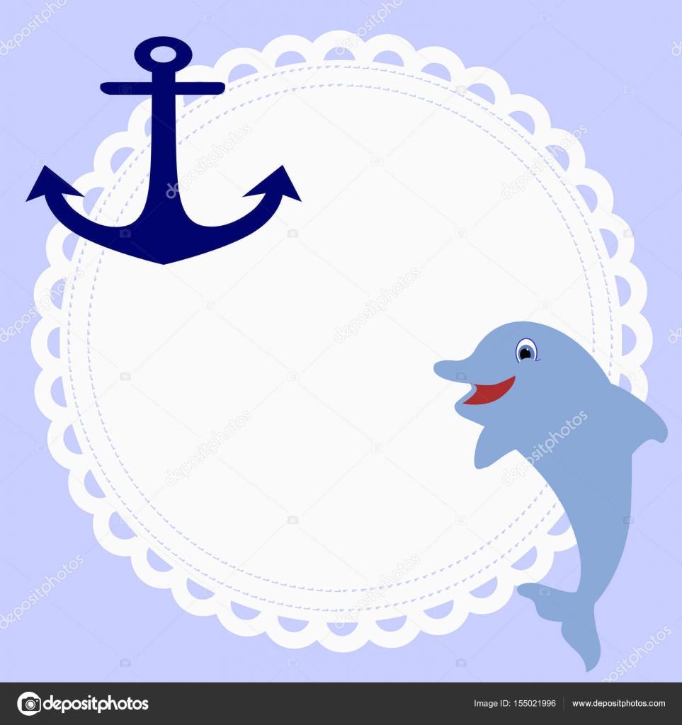 niedlichen runden Rahmen im nautischen Stil mit einem Anker und ...