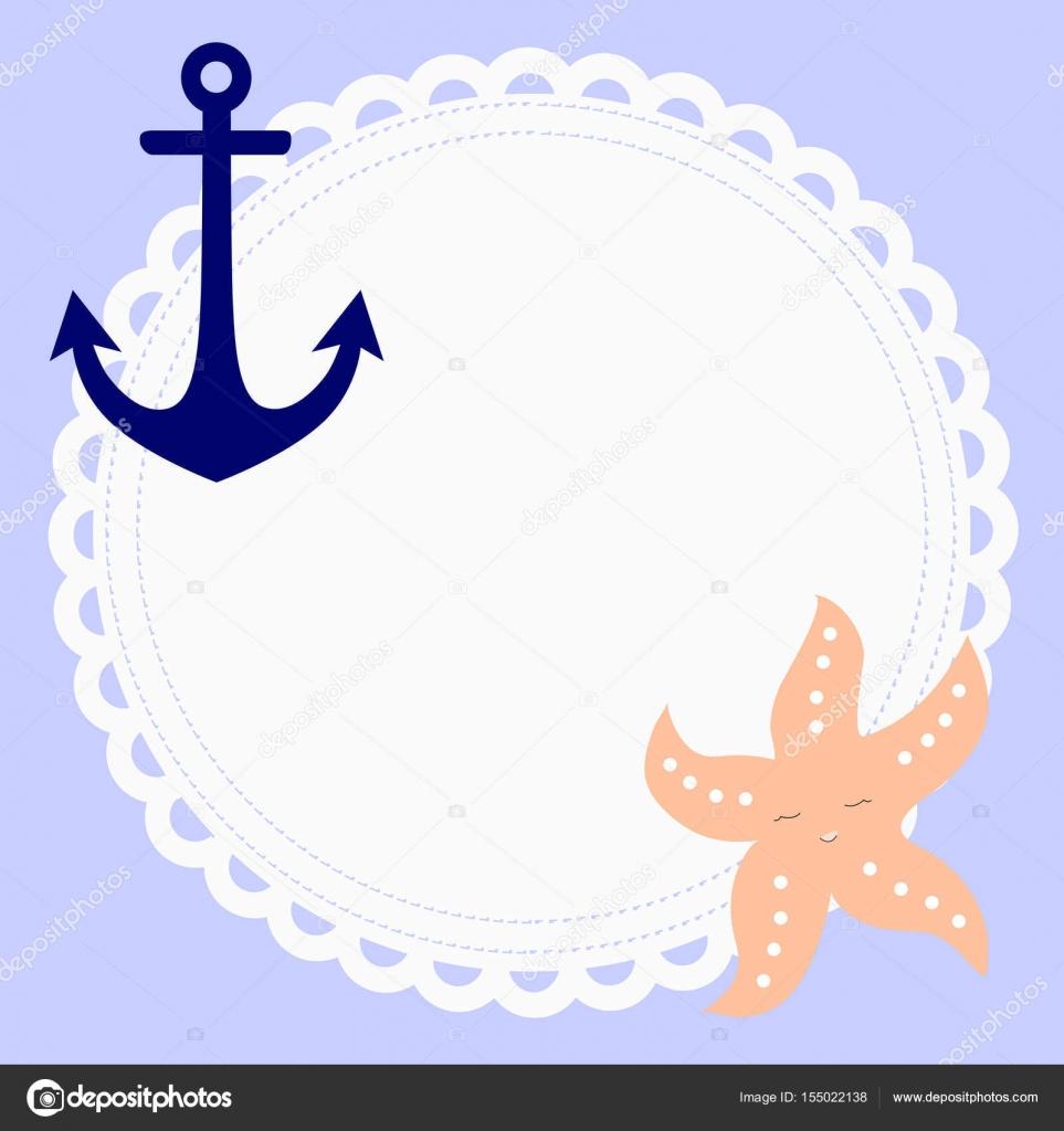 niedlichen runden Rahmen im nautischen Stil mit Anker und Seestern ...