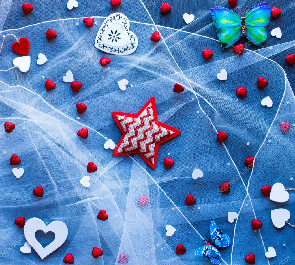 Valentine's Day background, with hearts and various romantic ele