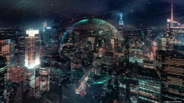 Digitální animace globálního podnikání hologram. Holografické vykreslení země, na pozadí mrakodrapů. znázornění obchodních procesů a komunikace, technologie, připojení