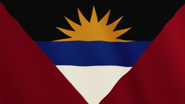 Antigua and Barbuda flag waving animation. Full Screen. Symbol of the country.