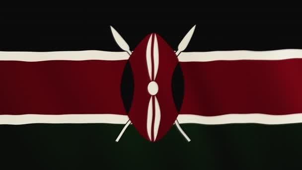 Kenya flag waving animation. Full Screen. Symbol of the country.