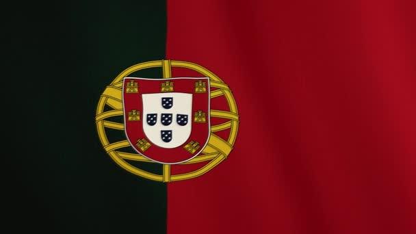 Portugália lobogója hullámzó animáció. Teljes képernyős. Az ország jelképe
