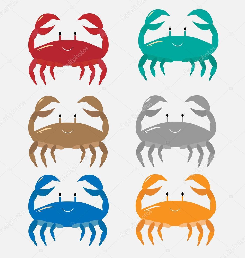 un conjunto de colores cangrejos de diferentes colores: naranja ...
