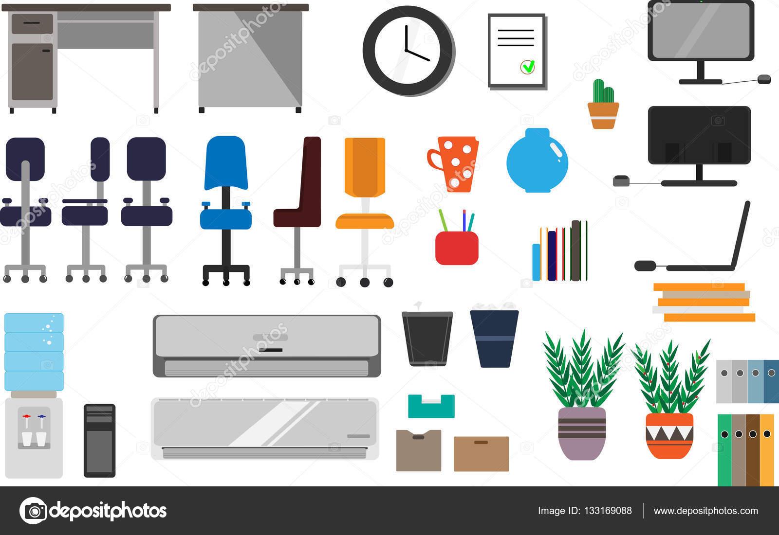 Un amplio conjunto de art culos de oficina que incluye una mesa sillas de varias clases - Articulos de oficina ...