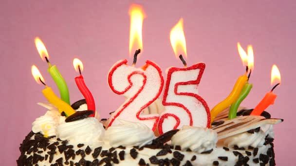 Birthday Anniversary 25 Years With Cake And Candles On Pink Background Stock Video