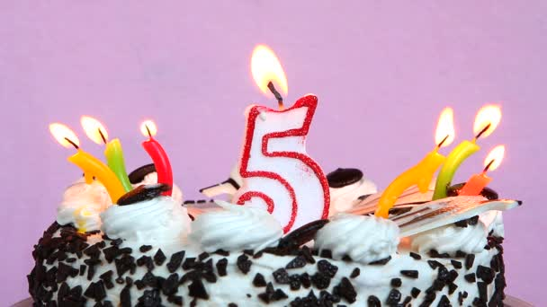 Birthday anniversary 5 years with cake and candles on pink background