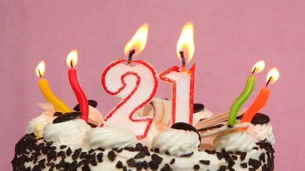 Joyeux Anniversaire 21 Gateau Et Bougies Sur Un Fond Rose Video
