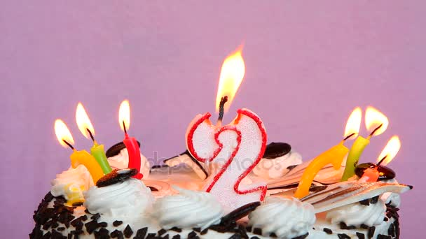Happy 2 Birthday With Cake And Candles On Pink Background Stock Footage