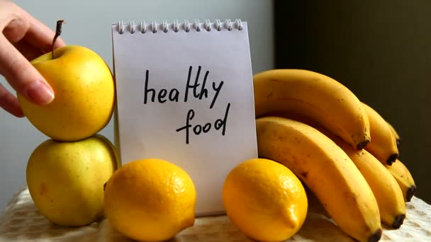 Healthy food words with fruits