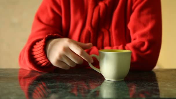 Žena pít čaj v kavárně nebo restauraci