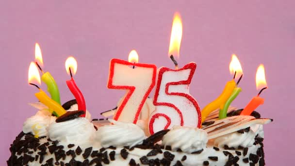 Happy 75 Birthday With Cake And Candles On Pink Background Stock Footage