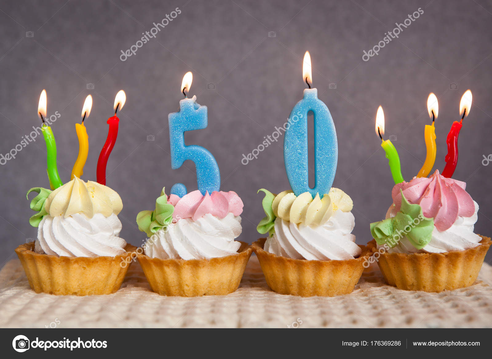 Birthday Anniversary Fifty Years Cake Blue Numbers Candles Stock