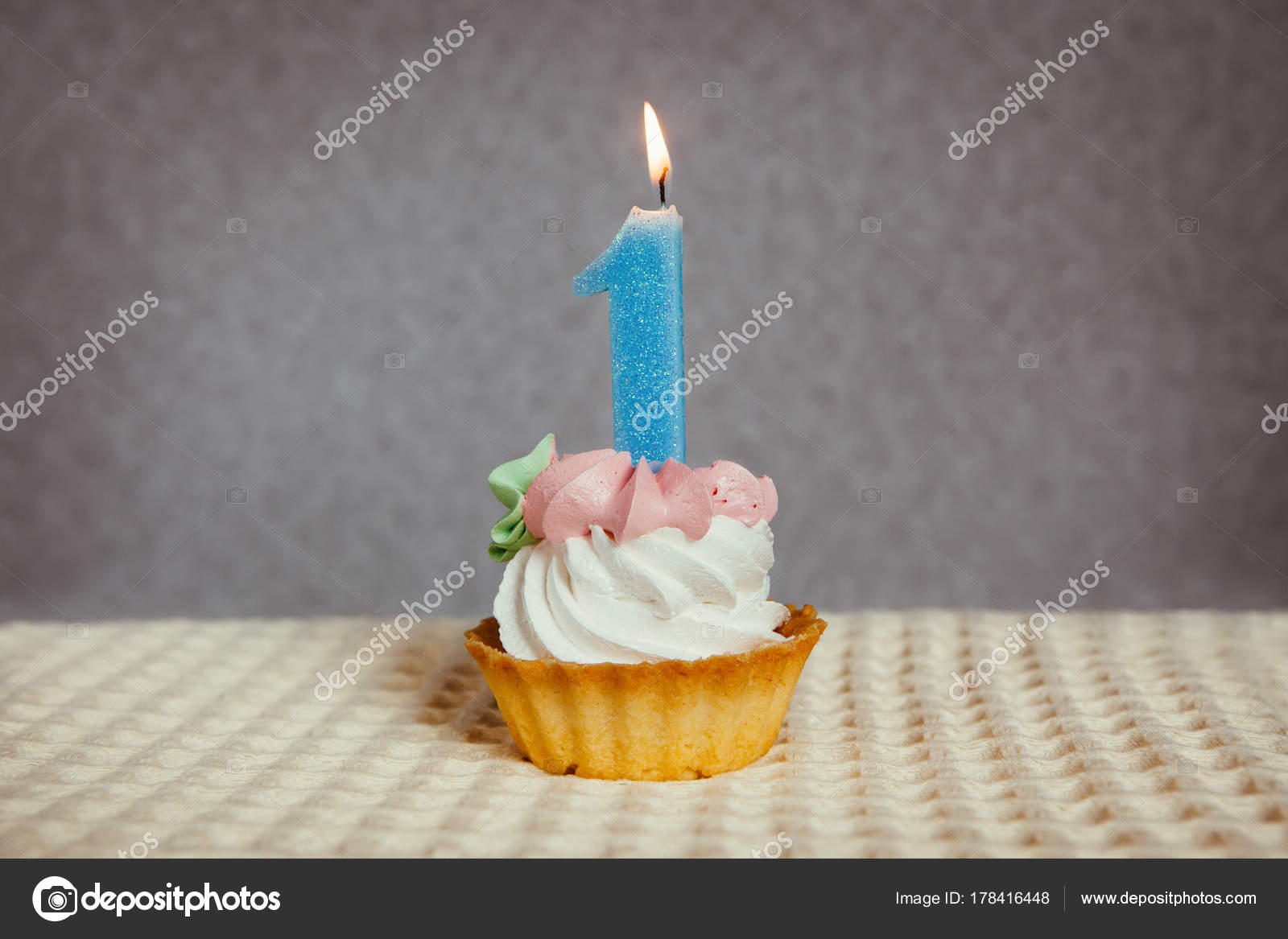 Happy 1 Birthday Cake And Blue Number One Candle Photo By Justesfir