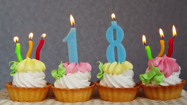 Happy Birthday Blue Burning Number Candles Cakes Stock Video