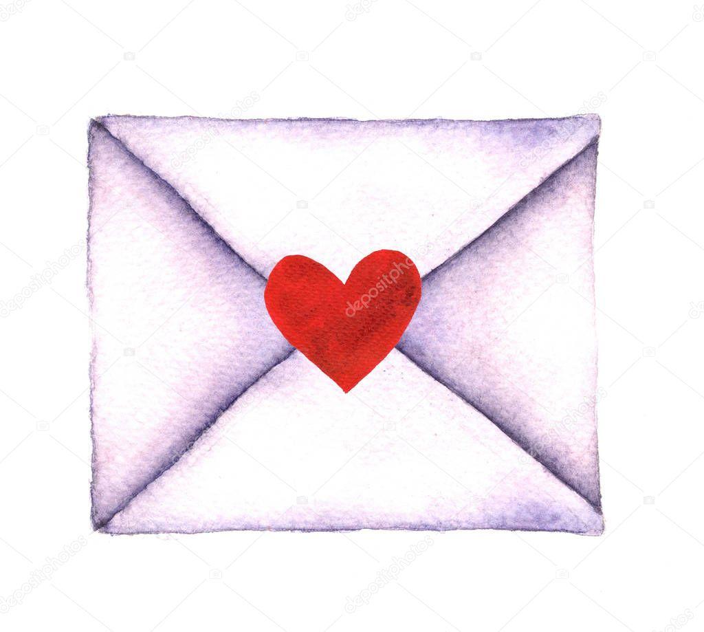 Carta De Amor Num Envelope Pintado Em Aquarela Sobre Um Fundo Branco