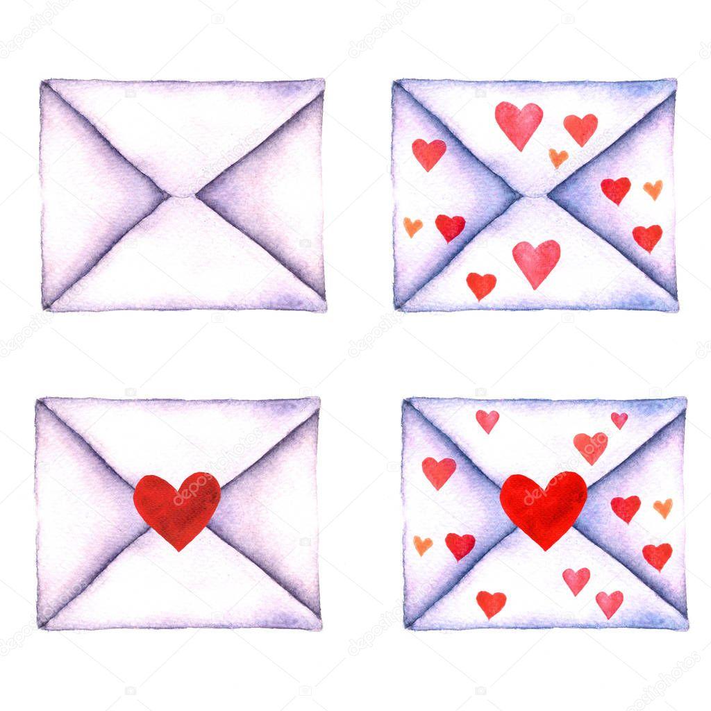 Set Liefdesbrief In Een Enveloppen Geschilderd In Waterverf Op Een