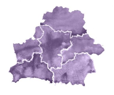 Hand drawn watercolor map of Belarus. Isolated illustration map of Belarus on white background.