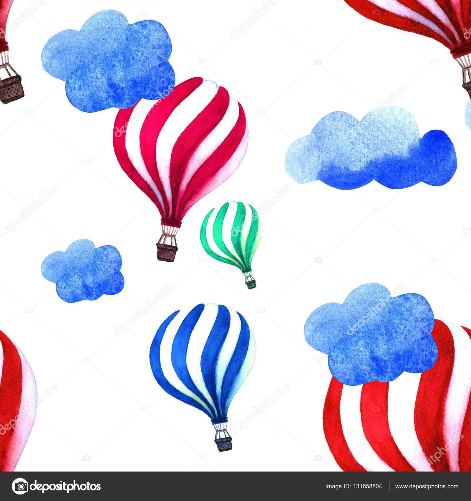 Sulu Boya Desen Hava Balonu Ve Bulutlar El Vintage Kolaj Resim