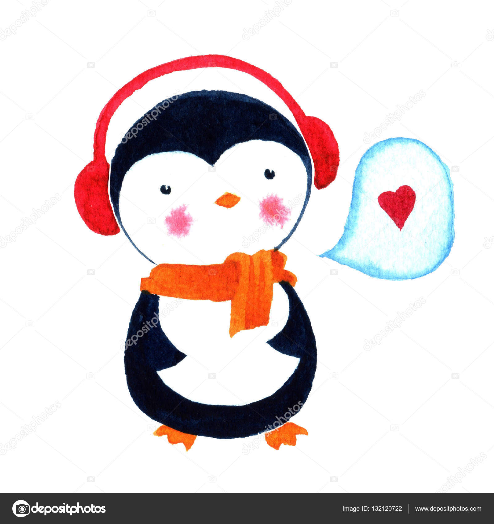 Cartoon penguin love Watercolor illustration isolated on white – Penguin Template