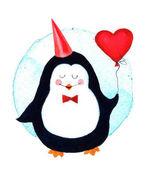Fényképek Aranyos pingvin gazdaság egy nagy szív lufi, Valentin daycartoon babák és a kis gyerekek. Akvarell illusztráció elszigetelt fehér background