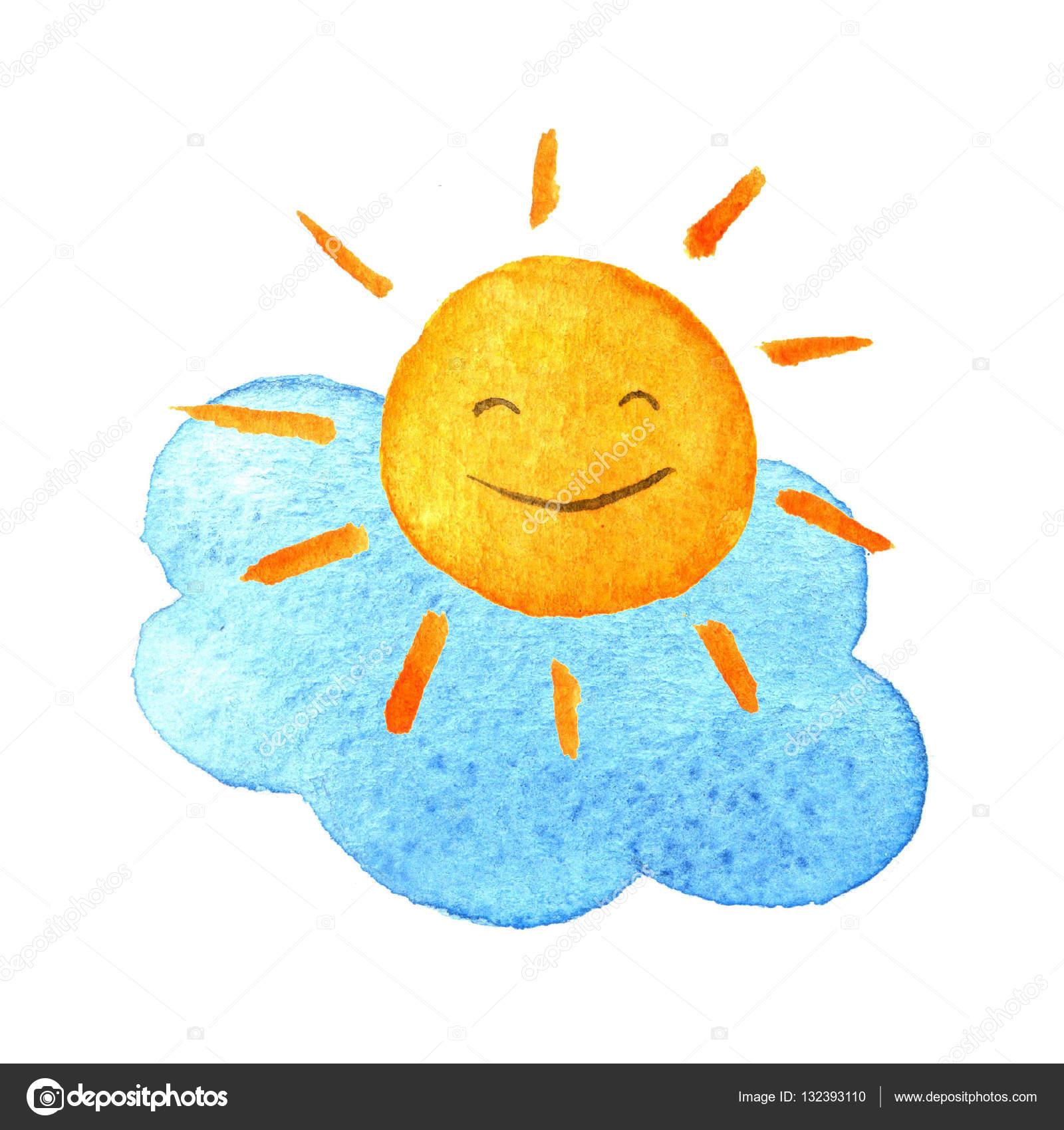Sevimli çizgi Bulut Ve Gün ışığı El Sulu Boya Resimde Gülümseyen