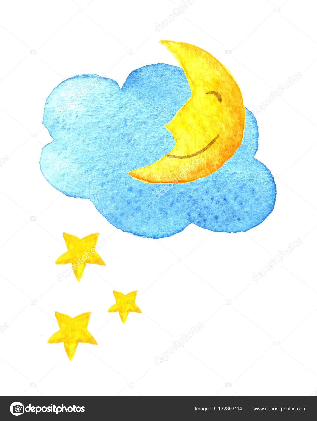 かわいい漫画雲星と笑顔の月手描き水彩イラスト図面を描いた水彩画