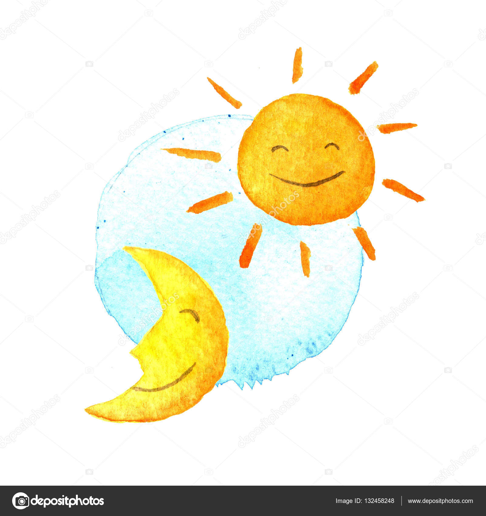 Day And Night Sun Moon Watercolor Icon Cute Smiling Half Hand